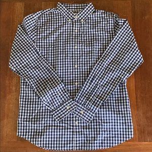 GAP Blue & White Plaid Long Sleeve Shirt Large